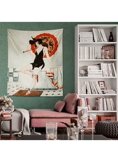 Eponj Home Tapestry Duvar Örtüsü 70x90 cm Waiting Kırmızı Kırmızı